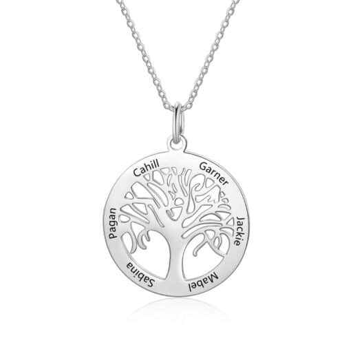 Silver Family Tree Necklace Silver