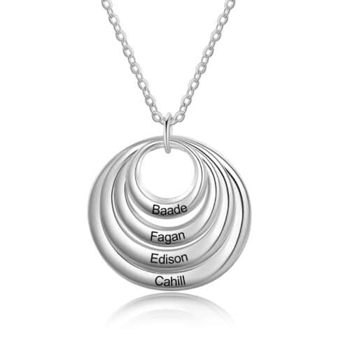 Silver Grandma Necklace With Grandkids Names