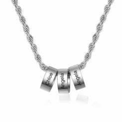 Silver Mom Charm Necklace With 1-8 Names