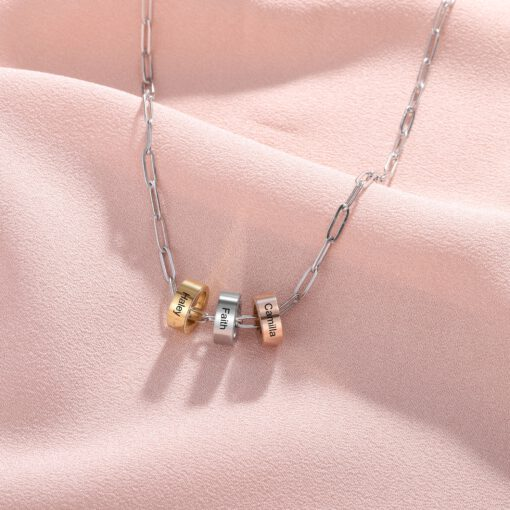 Silver Paperclip Chain with Charms for Grandma Mom