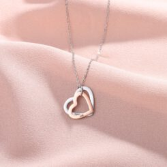 Silver Rose Gold Necklace for Her