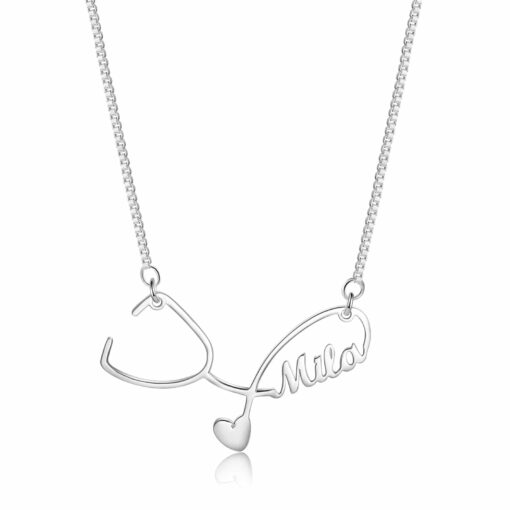 Silver Stethoscope Necklace With Name