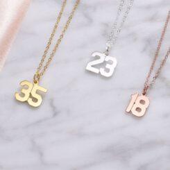 Sport Number Necklaces Silver Gold Rose Gold