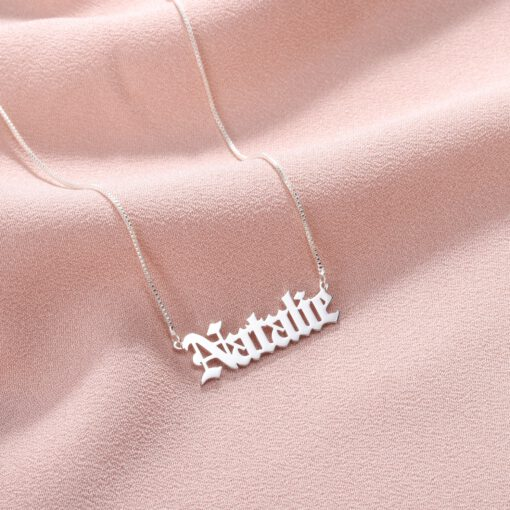 Sterling Silver Gothic Font Name Necklace