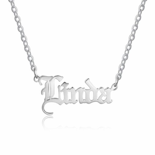 Sterling Silver Gothic Name Necklace