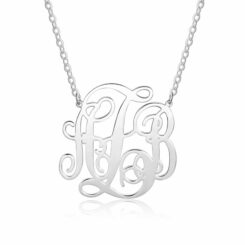 Sterling Silver Monogram Pendant 3 Initials Name Jewelry