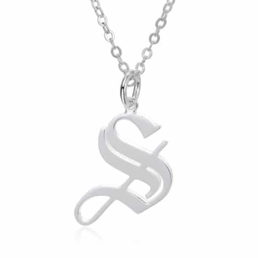 Sterling Silver Personalized Gothic Letter Pendant