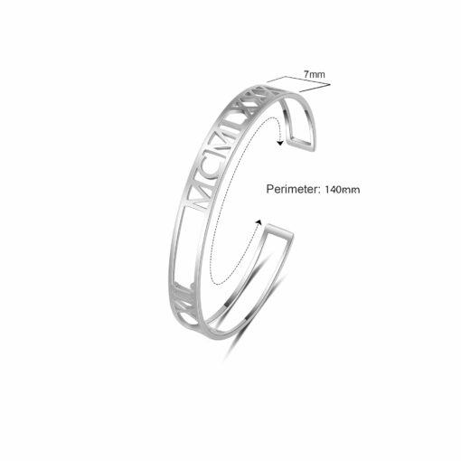 Sterling Silver Roman Numeral Bangle Size Material
