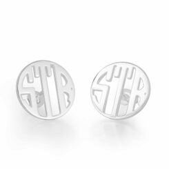 Sterling Silver Stud 3 Initials Monogram Earrings