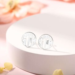 Sterling Silver Stud Monogram Earrings